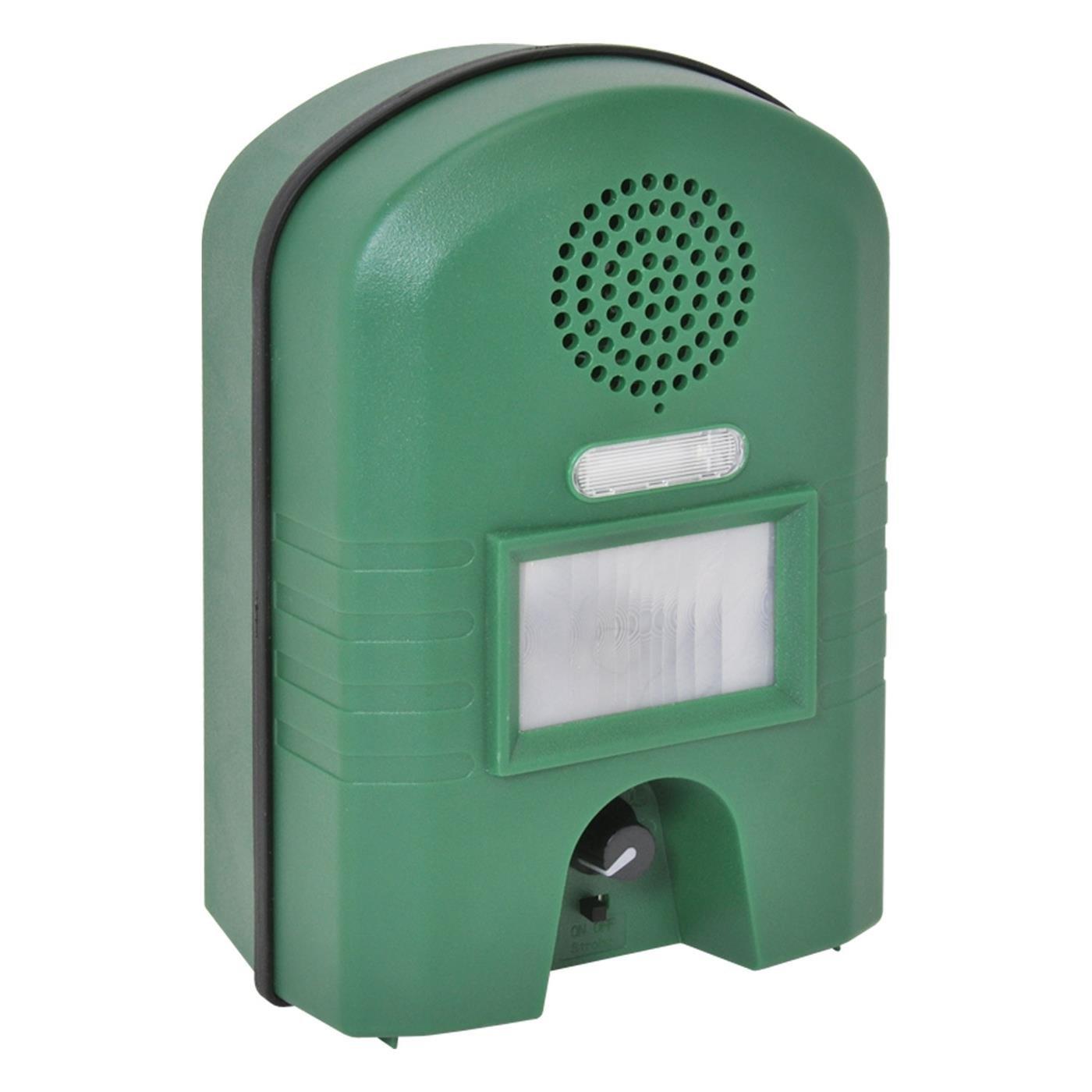 VOSS.sonic 2800 Repelente Ahuyentador de animales con cable adaptador, ahuyenta gatos, perros y animales salvajes con Ultrasonido y Flash Luminoso: ...