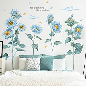 WINDVALE DIY Sunflower Wall Decals 3D Blue Flower Wall Stickers Peel and Stick Removable Wall Art Decor for Girls Nursery Babys Bedroom Kitchen Offices Decoration (Blue)