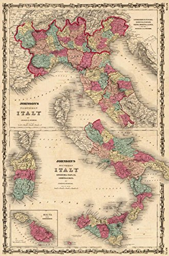 World Atlas | 1860 Northern Italy ... Southern Italy. | Historic Antique Vintage Map Reprint 1860 Italy Antique