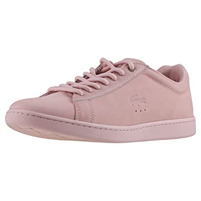 4398d279ce Lacoste Women's Carnaby Evo 118 1 G Nubuck Lace Up Trainer Light Pink-Pale  Pink