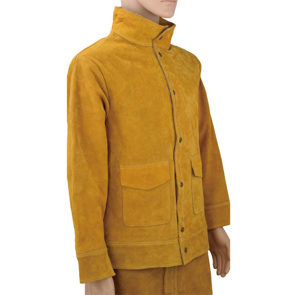 Welding Jacket and Trousers Heavy Duty Genuine Cowhide L Size Heat Flame-Resistant Welding Bib Apron Safety Apparel Long Coat Welding Suit HJ0002 by TUYU (Image #2)
