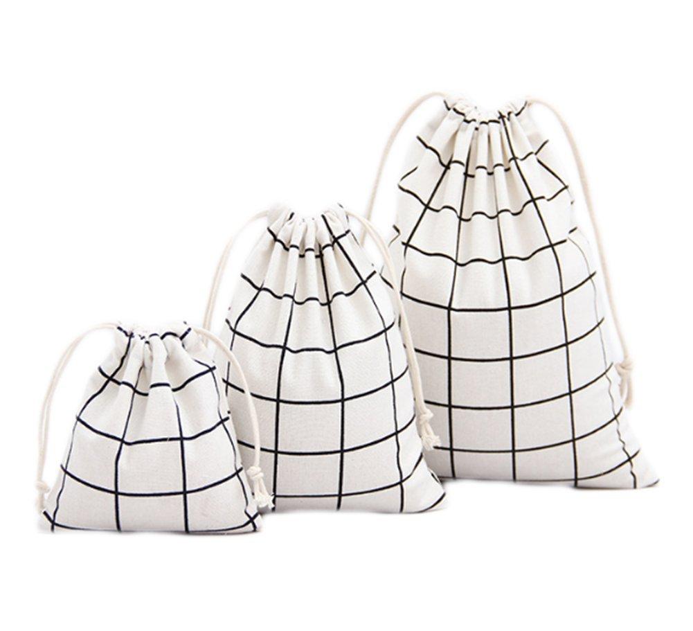 Monbedos 3Pcs Drawstring Bags White Grid Storage Bag Cotton Linen Bag for Home or Arts Stuff or Travel (Large 25 x 32 cm, Medium 19 X 24cm, Little 14 X 16 cm)