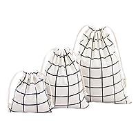 Monbedos 3pcs Cordon de Serrage Sacs Blanc Grille Sac de Rangement en Coton et Lin Sac pour Maison ou Arts Stuff ou de Transport (Grande, 25x 32cm, Medium 19x 24cm, Little 14x 16cm)