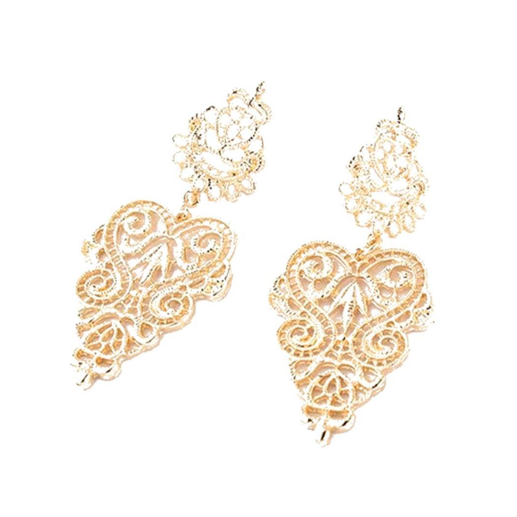 Minshao 1 Pair Fashion Women Ladies Earrings Bohemia Style Hollow Earring Stud (Silver)