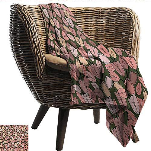 (EwaskyOnline Flower Travel Blanket Pattern with Retro Tulips Springtime Garden Park Seasonal Nature Stylized Art Recliner Throw,Couch Throw, Couch wrap 51