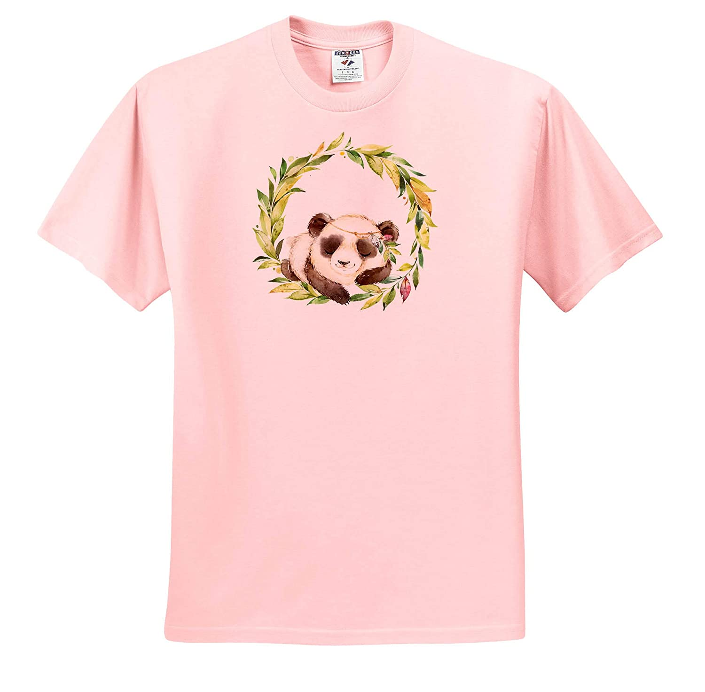 T-Shirts Illustrations Cute Image of Watercolor Boho Panda Bear in A Watercolor Wreath Design 3dRose Anne Marie Baugh