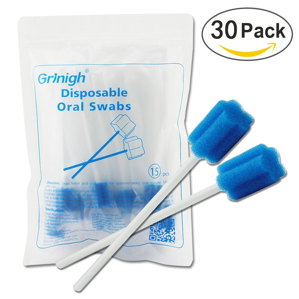 Grinigh Disposable Unflavored Oral Care Sponge Swabs, Sterile, Individually wrapped - 30 Count
