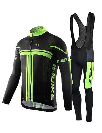 INBIKE Maillot Vélo Manches Longues + Pantalon Cuissard VTT 3D Coussin Rembourré Gel A Bretelle Tenue Cyclisme Confort Homme Printemps Automne