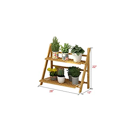 Bamboo Flower Pot Shelf Flower Stand Rack Foldable Racks Planter Organizer Shelves (2-Tier) : Garden & Outdoor