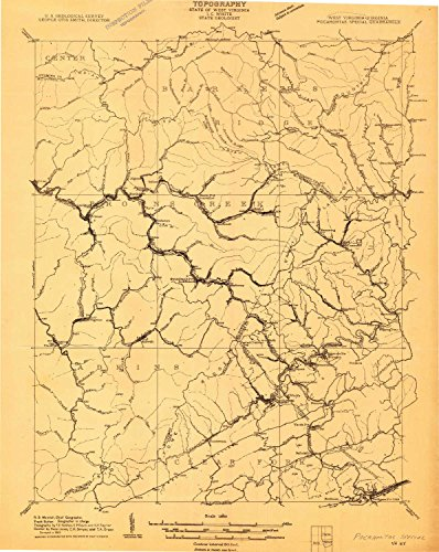 YellowMaps Pocahontas Special WV topo map, 1:48000 scale, 15 X 15 Minute, Historical, 1909, 27.3 x 21.7 IN - Tyvek