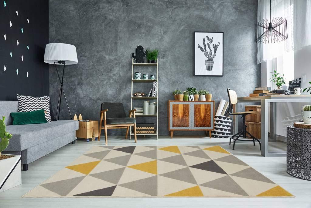 The Rug House Milan Ocre Amarillo Mostaza Gris Beige con triángulos arlequín Tradicional Alfombra de salón