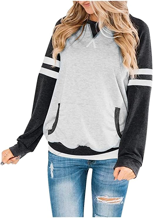 Hessimy Womens Top Womens Color Block Tunic Tops Crewneck Long Sleeve T-Shirt Casual Loose Shirt Blouses