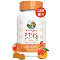 Vegan Omega 3-6-7-9 Gummies Supplement (Plant Based) by MaryRuth's Organic Ingredients, Non-GMO, Gluten Free for Men, Women & Kids, NO Fish, NO Krill, Sugar Free (120 Count)