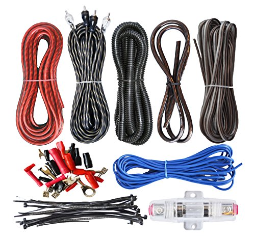 (SoundBox Connected 8 Gauge Amp Kit Amplifier Install Wiring Complete 8 Ga Installation Cables 1500W)