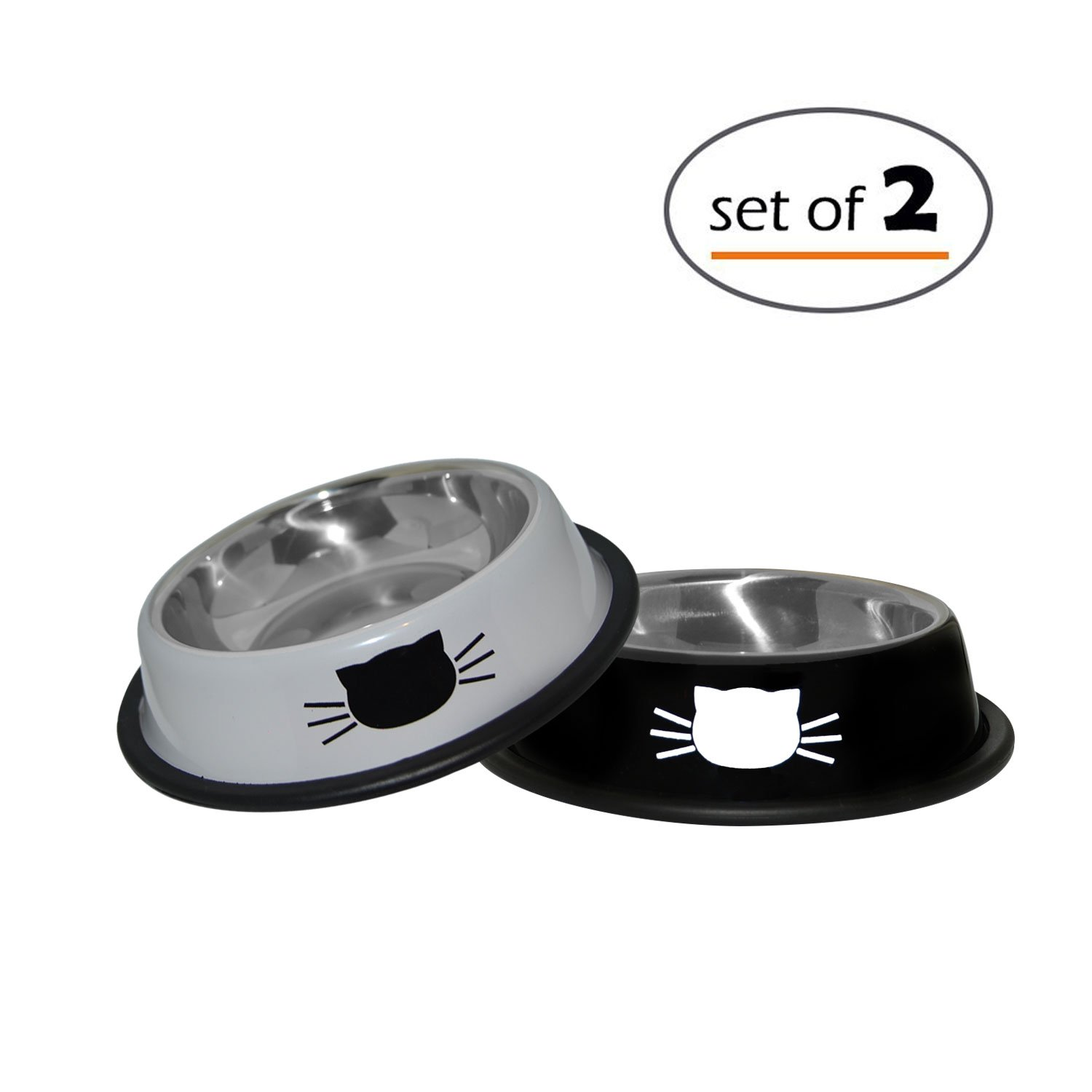 Petfuren Cat Bowls Set By Non-Skid Stainless Steel Cat Dish 8 Ounce with Black/Gray Color and Cute Cat Face for Pet Food & Water Bowl (Set of 2)