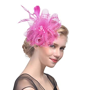 233bac5604b Wocharm Womens Sinamay Fascinator Occasion Wedding Prom Party Derby Cocktail  Hat (Hot Pink)  Amazon.co.uk  Beauty