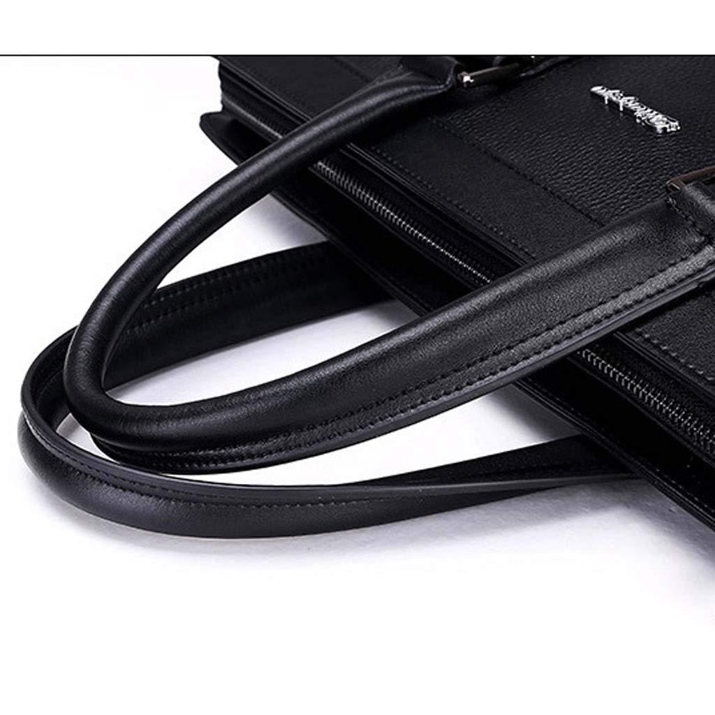 Cloud Mens Briefcase Shoulder Portable Diagonal Big Bag Business Casual Color : Black, Size : 29cm