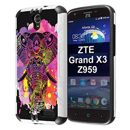 ZTE ZMAX Grand Case, ZTE ZMAX Champ Case, ZTE ZMAX 3 Case, ZTE AVID 916 Case, ZTE Warp 7 Case, ZTE Grand X3 Case, Capsule-Case Slim Defender Combat Case White Black - (Watercolor Splash Elephant)
