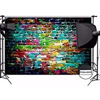 MOHOO 7x5ft Cotton Polyster Photography Background Colorful Brick Wall Collapsible and Washable Studio Prop Background (Updated Material)No Wrinkle