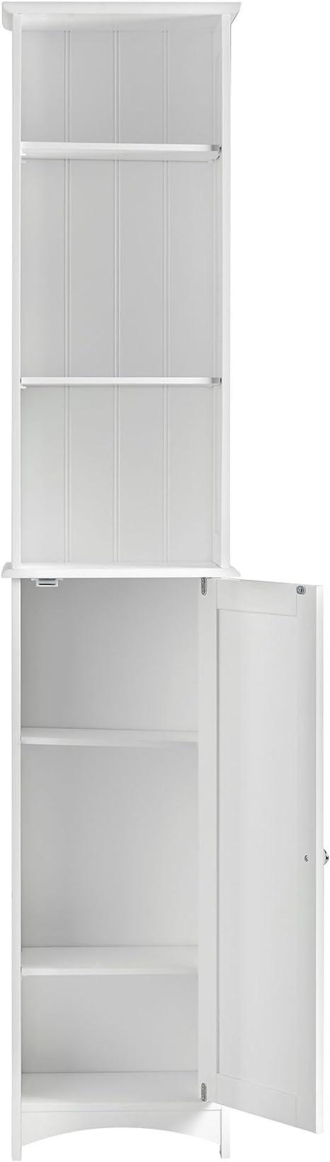 Bianco dispensa in stile coloniale VonHaus armadietto alto per il bagno