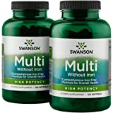 Swanson Multi Without Iron Multivitamin Health Supplement High Potency Iron-Free Formula 240 Softgels 2 Bottles