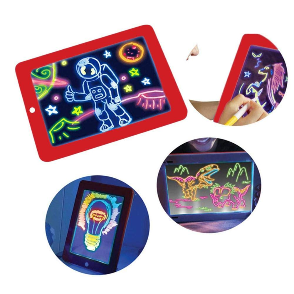 clarifylay 3D Magic Drawing Board Colorful Luminous Magnetic Drawing Board Light Up Doodle Board Toy for Kids Toddler,3 Color/Pencil Chic
