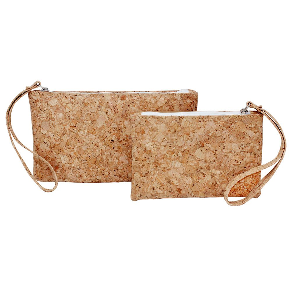 Boshiho Natural Cork Clutch Wristlet Wallet Cell Phone Card Holder Coin Purse Bag (2 Size)