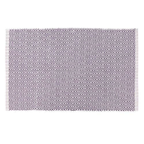 Seavish Chindi Rug, Purple Diamond Geometric Hand Woven Recycled Cotton Braid Reversible Area Rug Floor Mat for Laundry Room Kitchen Bathroom Bedroom Dorm, 2'W x - Braid Accent Diamond