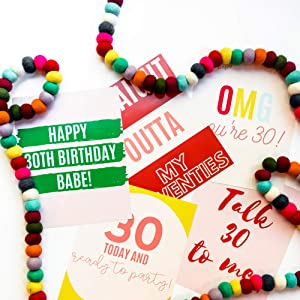30th Birthday Garland Rainbow Party Bundle with 30th Quote Print Signs & Rainbow Wool Garland