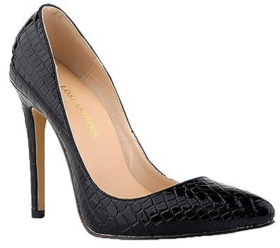c3c44ff738136a Sexy Pumps Damen-Krokodil-Korn-Muster spitz High Heels Stilettos schwarz (35