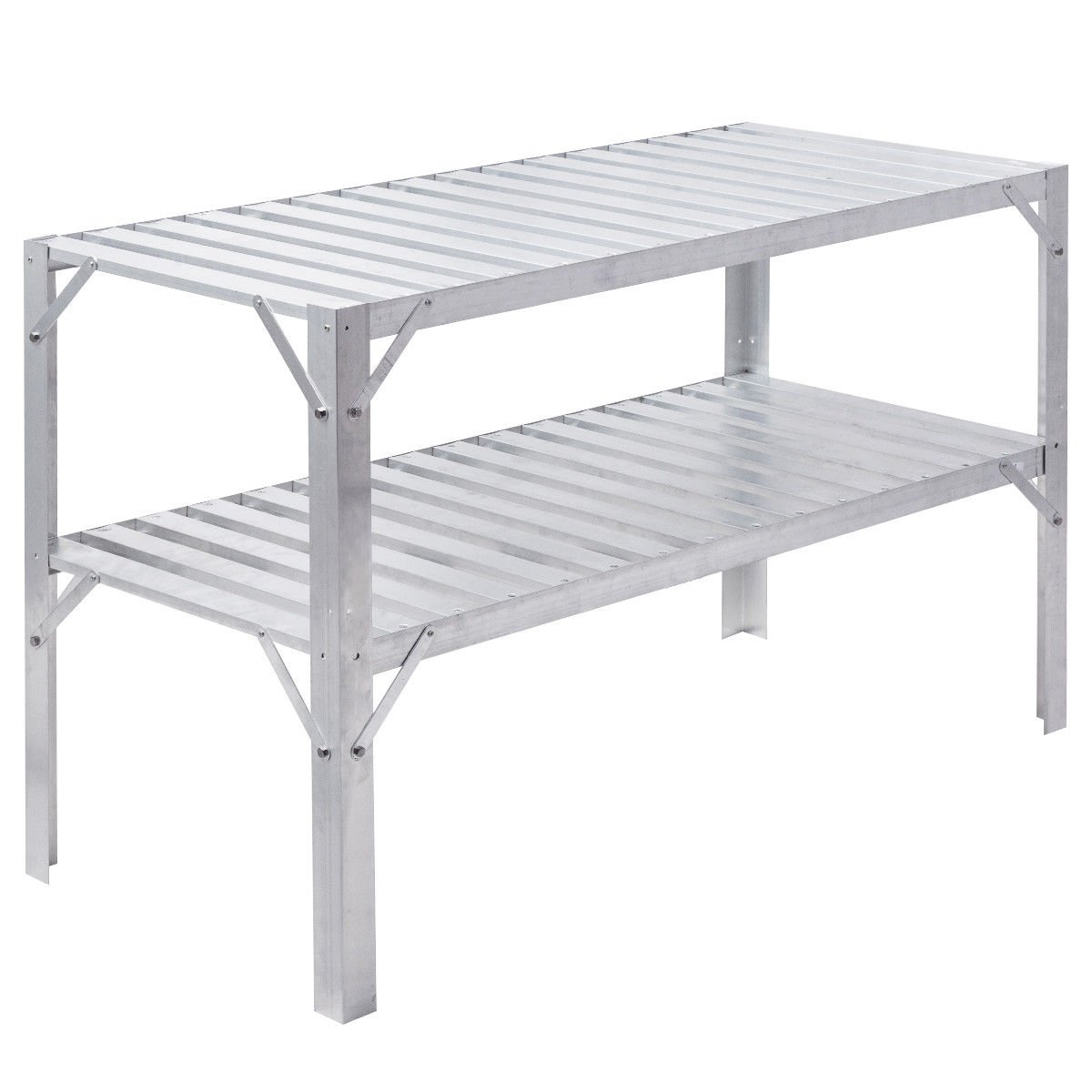 Workbench Greenhouse Prepare Aluminum Work Potting Table Storage Garage Shelves