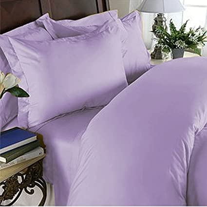 King Of Cotton Bed Sheets Set Egyptian Cotton, Lavender Solid 4 Piece Twin  Extra