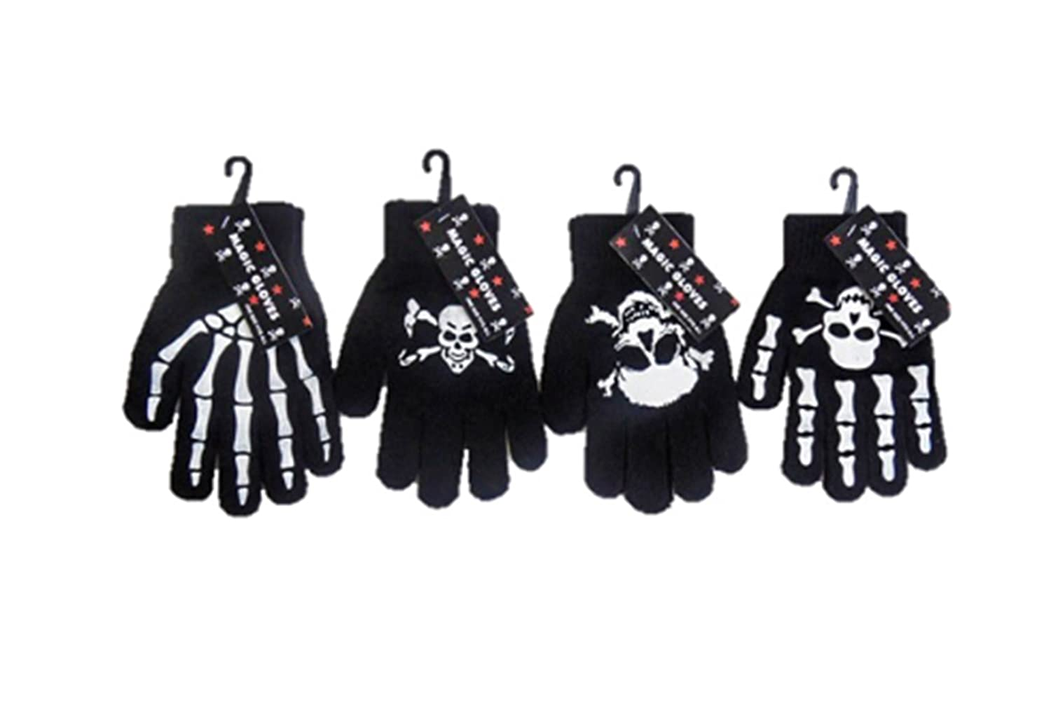 Childrens/Boys/Girls/Kids Magic Gloves Skulls Bones Skeleton - 4 Pack