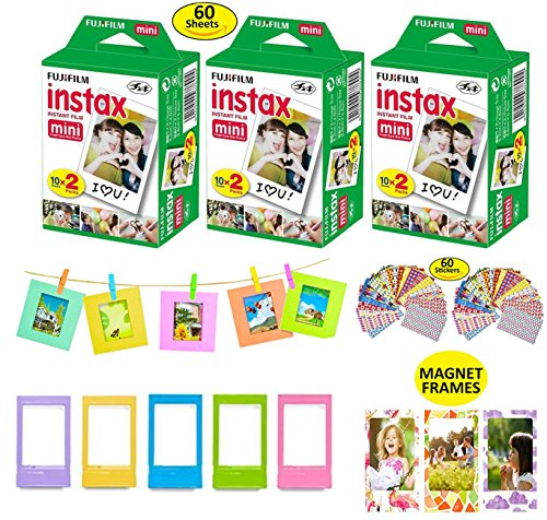 Fujifilm Instax Mini Instant Film, 3 Fuji Twin Packs (60 Total Pictures) + Picture Frames + Magnet Frames + 10 Hanging Frames + 60 Sticker Frames.