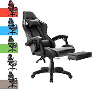 Advwin Gaming Chair Racing Style, Ergonomic Design with Footrest Reclining Executive Computer Office Chair, Relieve Fatigue (Black)