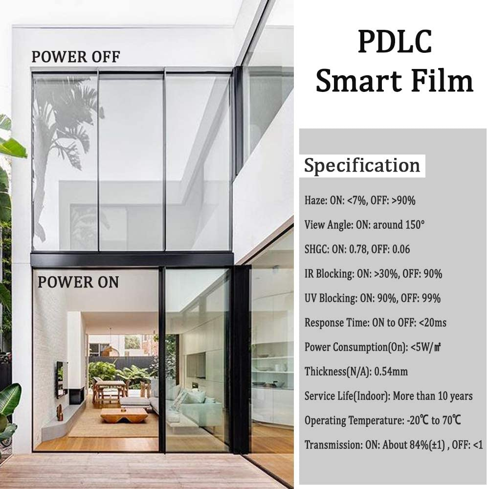White Smart film Switchable Film Power on And OFF Customized 85cmx185.5cm