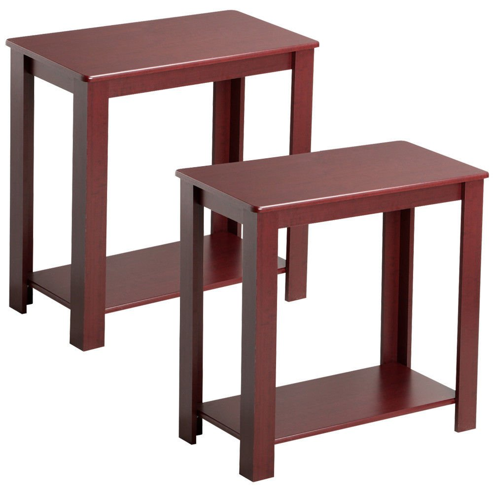 Set of 2 Rustic Wooden Chair/Sofa Side Coffee End Table with Lower Shelf, Dark Espress