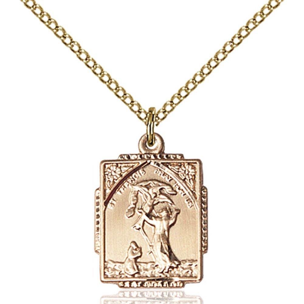 Bonyak Jewelry 金張り Jewelry アッシジの聖フランチェスコペンダント 5/8×1 金張り/2インチ 18インチの金張りの縁石チェーン Bonyak B00P5O4NZ4, ナナカイムラ:c9be13fd --- amlakzamanpour.ir