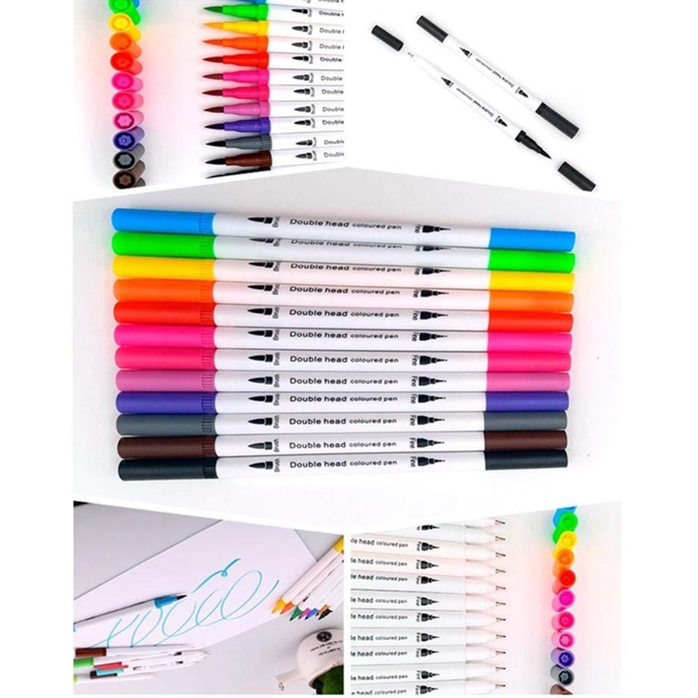 Dibujar Acuarela Colorear Brush Marcadores con Punta Fineliner 100 Acuarela Basado Marker Artistas 24 Colores Rotuladores Punta Pincel