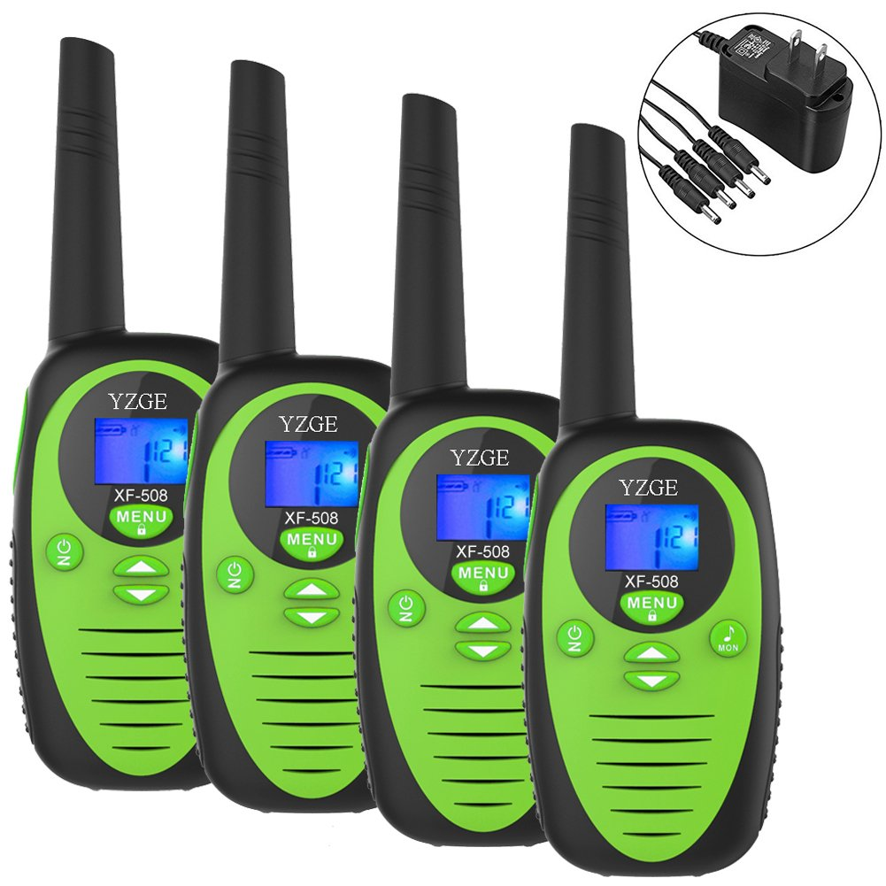 Rechargeable Walkie Talkies YZGE 22 Channel Walkie Talkies 2 Way Radio 3 Miles Handheld Walkie Talkies for Boys and Girls. Carry 1-to-4 Branch Power Adapter( Green/Pack of 4/Batteries Not Included)