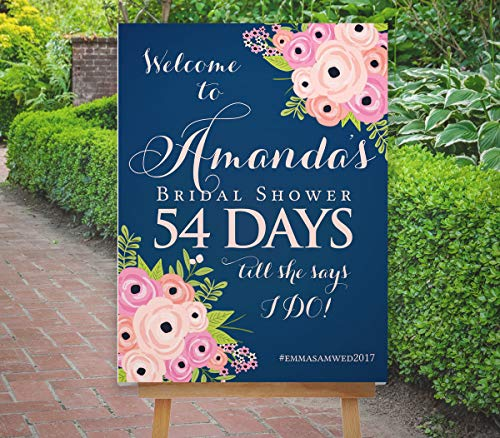 Dozili Bridal Shower Countdown Sign Bridal Shower Sign Floral Welcome Sign Boho Blush Pink Navy Sign The St Helena Collection ()