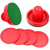 Silfrae 3 Different Sizes Air Hockey Red Pushers Set Of 2 Felt Paster, 2 Pushers, 4 Pucks