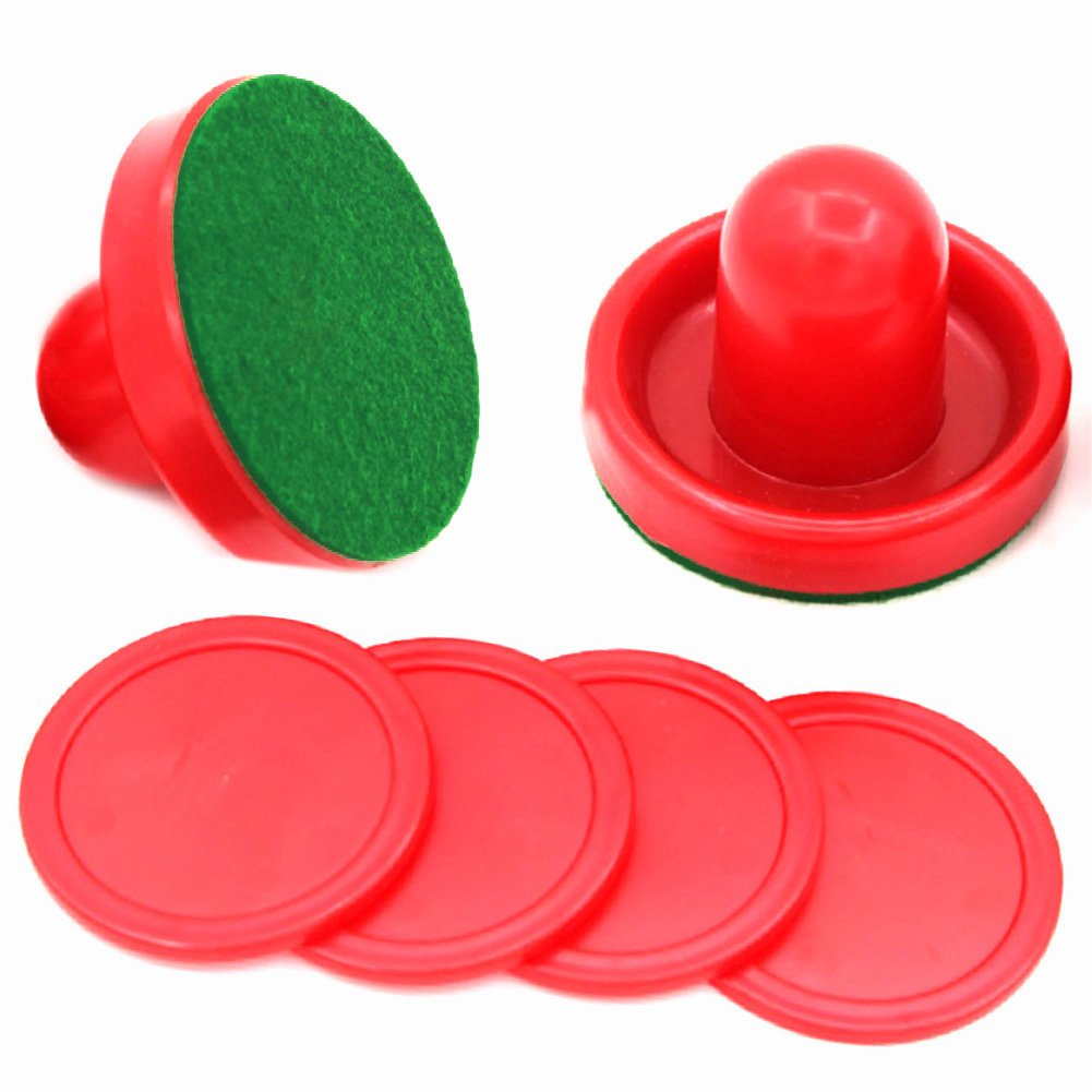 Silfrae 3 Different Sizes Air Hockey Red Pushers Set of 2 Felt Paster, 2 Pushers, 4 Pucks (L)