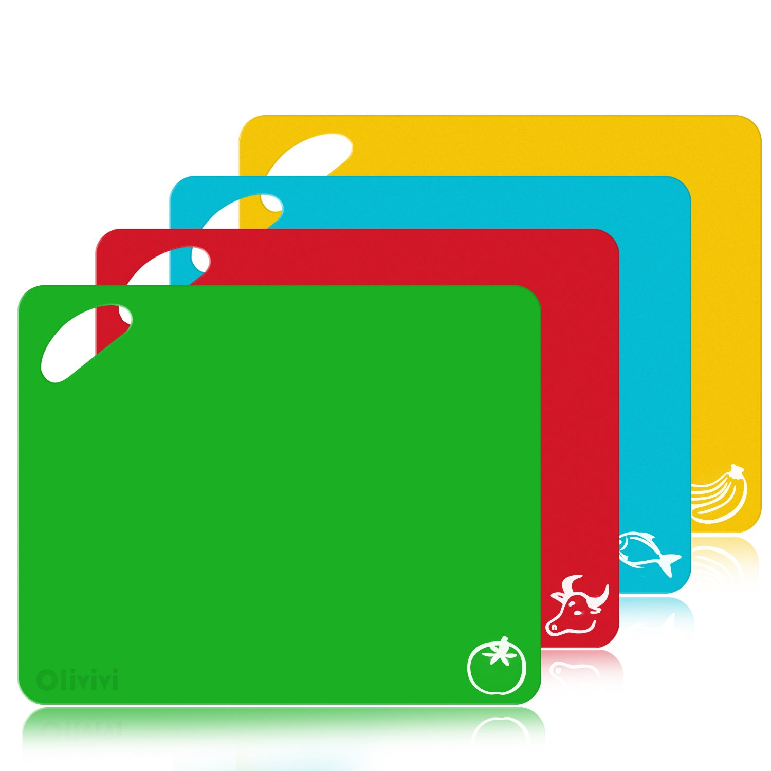 Extra Thick Flexible Plastic Kitchen Cutting Board Mats Set, Set of 4 Colored Mats With Food Icons & Easy-Grip Handles, BPA-Free, Non-Porous, Dishwasher Safe By Olivivi