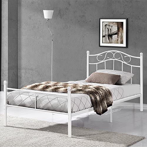 en.casa] Cama de Metal 120x200 Blanca Estructura Base con ...