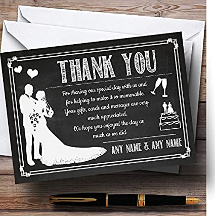 Chalkboard White Personalized Wedding Thank You Cards