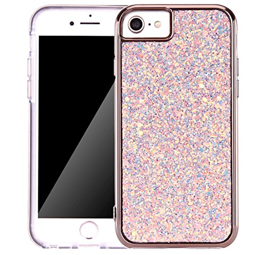 iPhone 7 Case, Bling Brilliance Sequins Dual Layer Rugged Hybrid Shockproof Full-Body Protective Cell Phone Cover with Lanyard for Apple iPhone 7 4.7 Inch (Rose Gold)