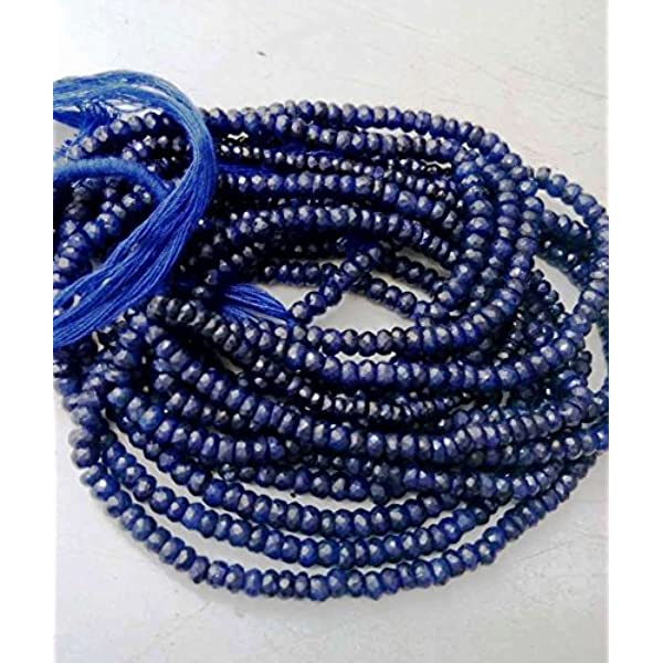 13 Inches Strand,Superb-Finest Quality,Natural Blue Sapphire Faceted Rondelles,Size.3.30mm