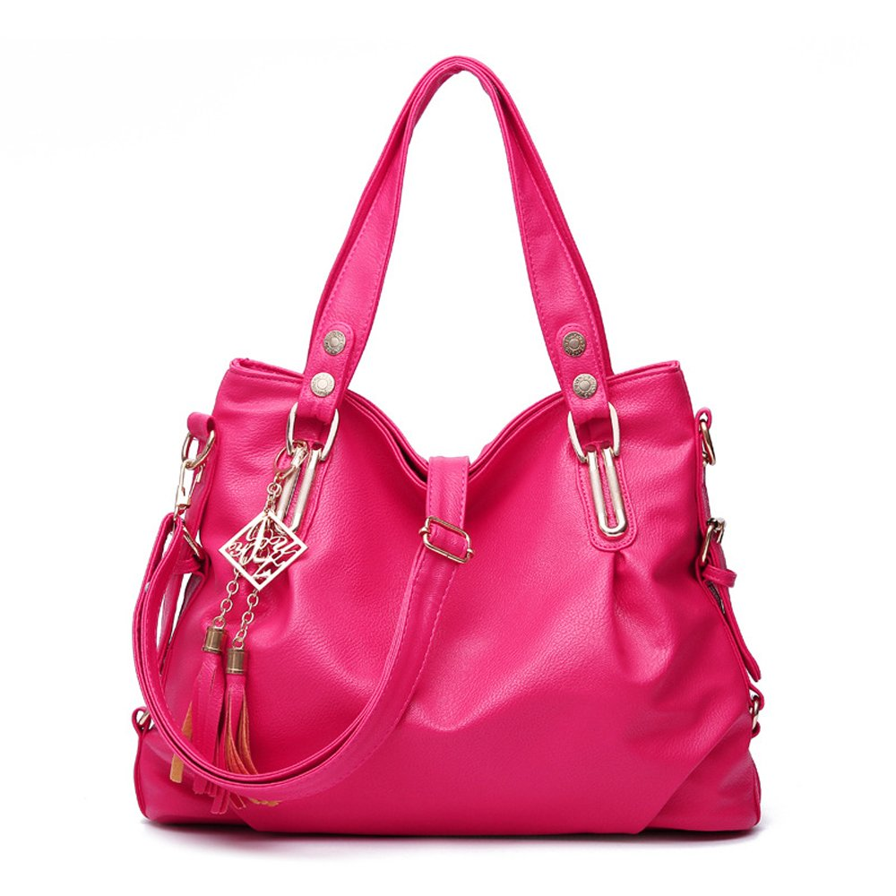Leather Shoulder Bag for Women Causal Zipper Closure Top Handle Large Capacity Girls Tote Purse (Hot Pink)
