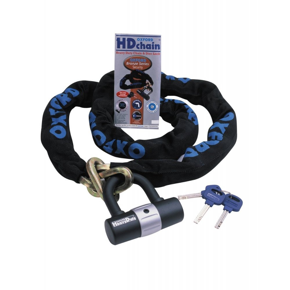 MOTORCYCLE MOTORBIKE SECURITY ANTI THEFT INSURANCE APPROVED OXFORD HD SOLD SECURE CHAIN ALL SIZES WITH DLR (150 CM) D&H